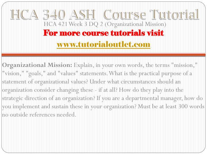 HCA 340 ASH  Course