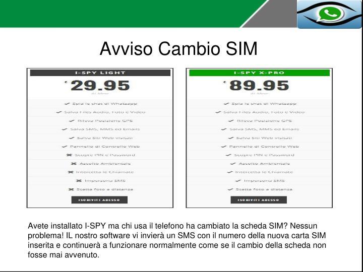 Avviso Cambio SIM