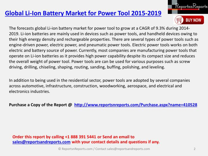 Global li ion battery market for power tool 2015 20191