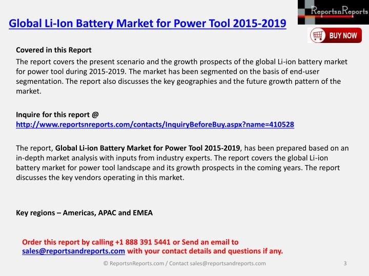 Global li ion battery market for power tool 2015 20192