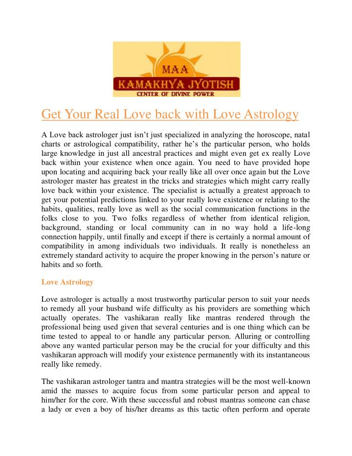 Get Your Real Love back with Love Astrology