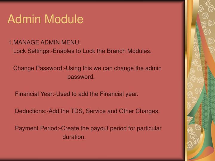Admin Module
