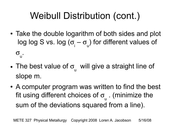 Weibull Distribution (cont.)