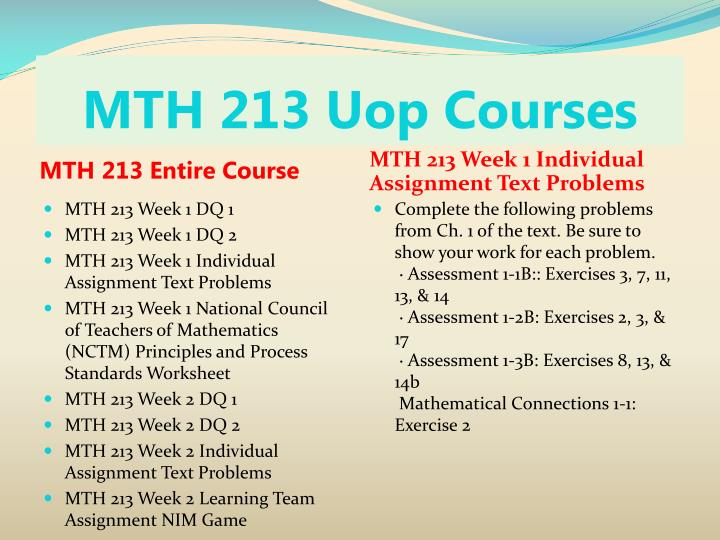 Mth 213 uop courses1
