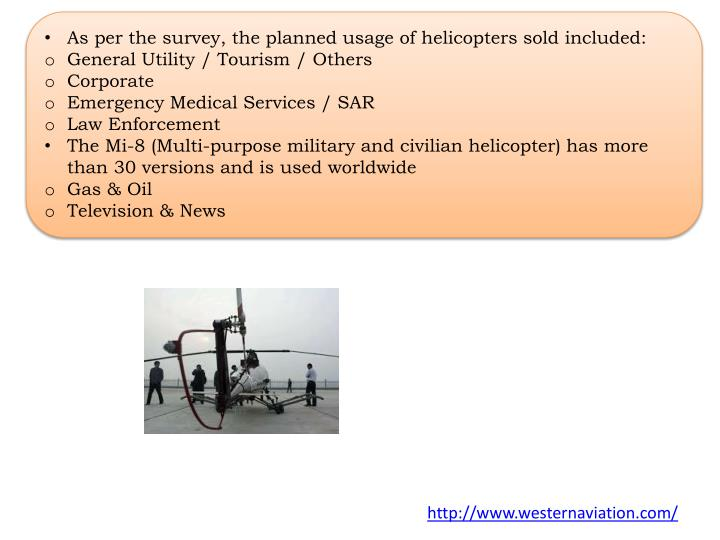As per the survey, the planned usage of helicopters sold included:
