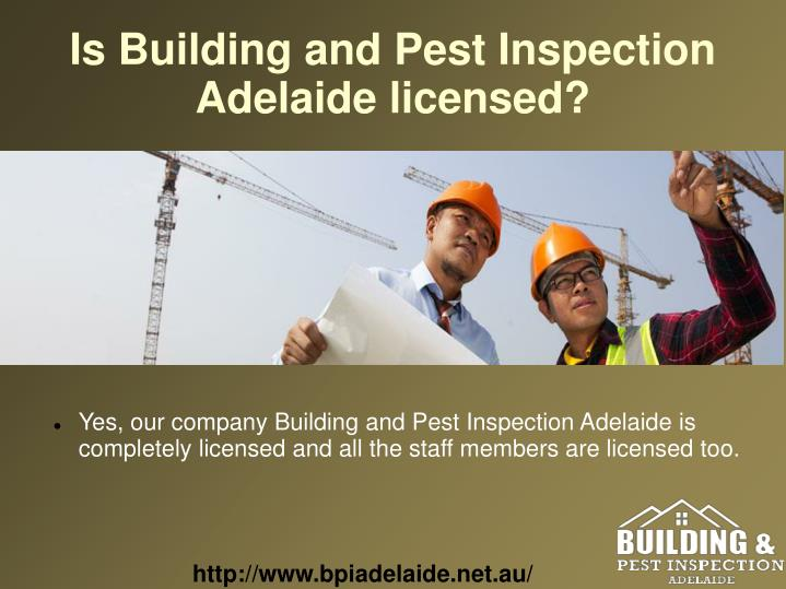 Is Building and Pest Inspection Adelaide licensed?