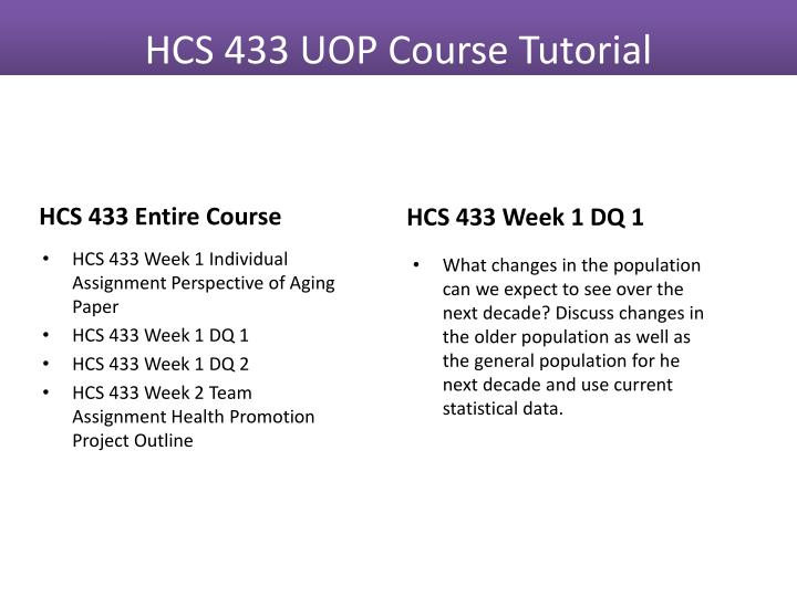 HCS 433 Entire Course