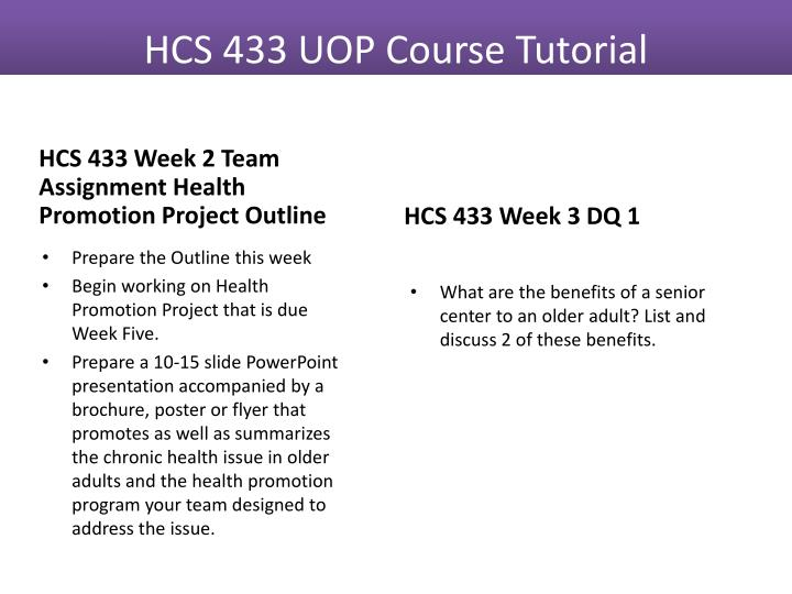 HCS 433 Week 2 Team Assignment Health Promotion Project Outline