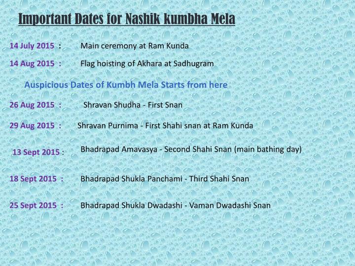 Important Dates for Nashik kumbha Mela