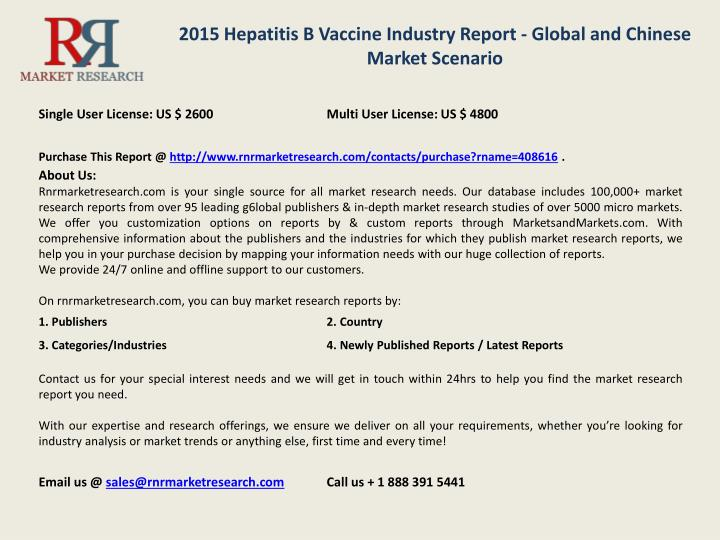 2015 Hepatitis B Vaccine Industry Report - Global and Chinese Market Scenario