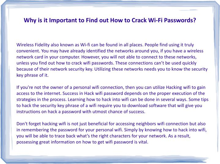 Why is it important to find out how to crack wi fi passwords