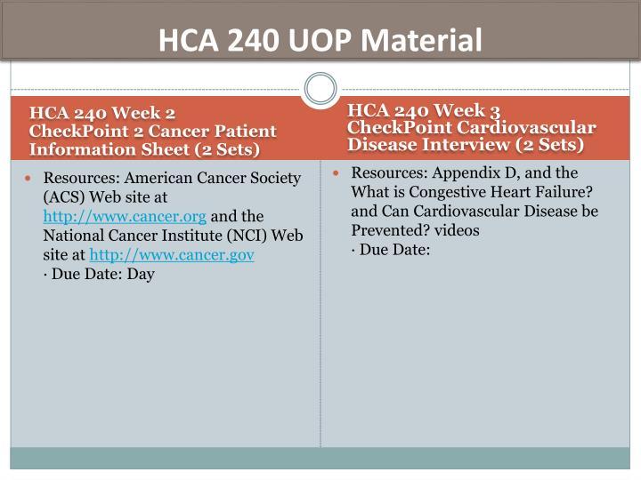 HCA 240 UOP Material