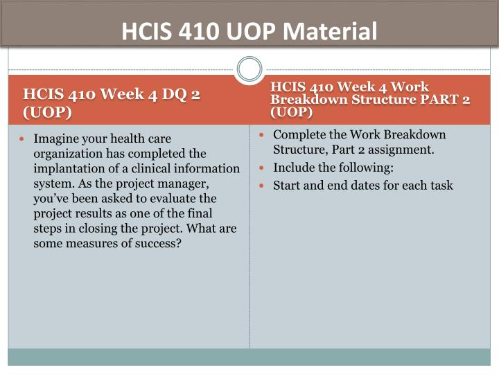 HCIS 410 UOP Material