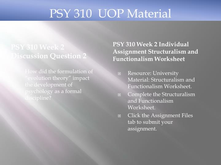 PSY 310 Week 2 Discussion Question 2