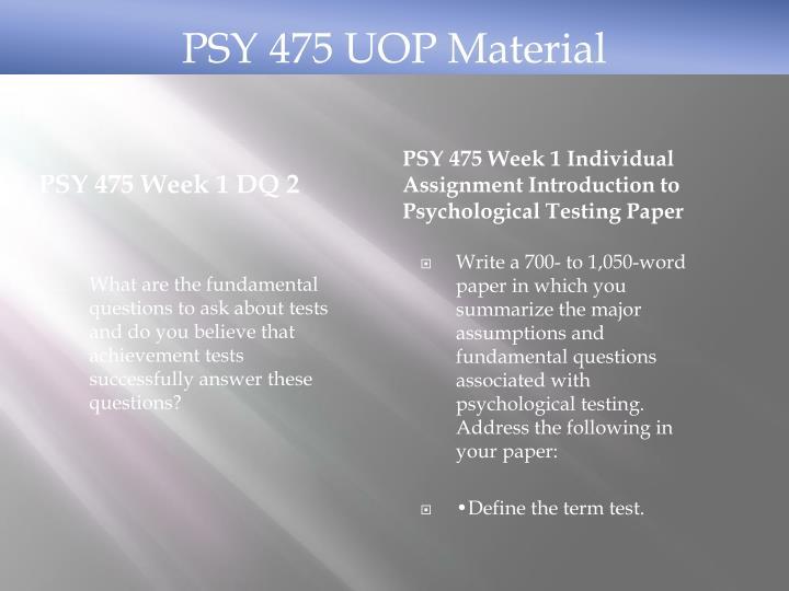 PSY 475 Week 1 DQ 2