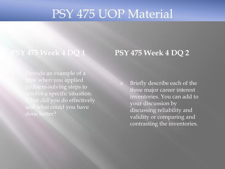 PSY 475 Week 4 DQ 1