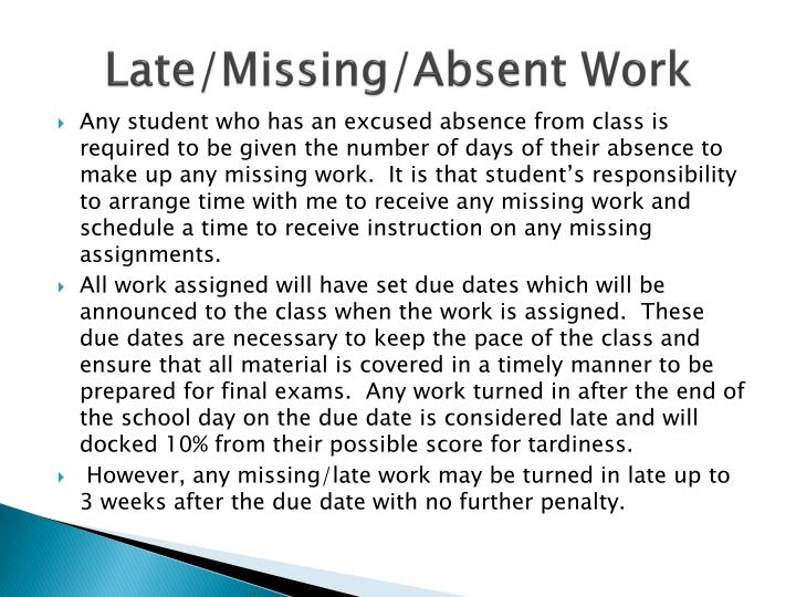 Late/Missing/Absent Work