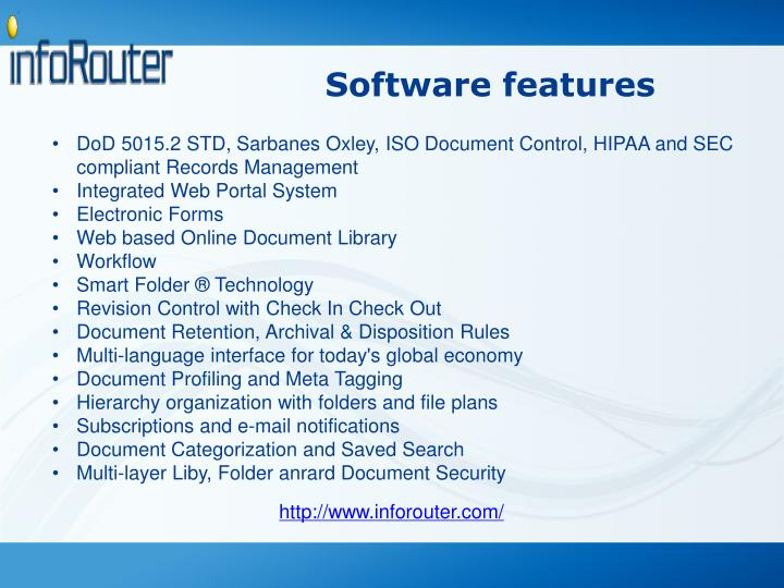 Software features