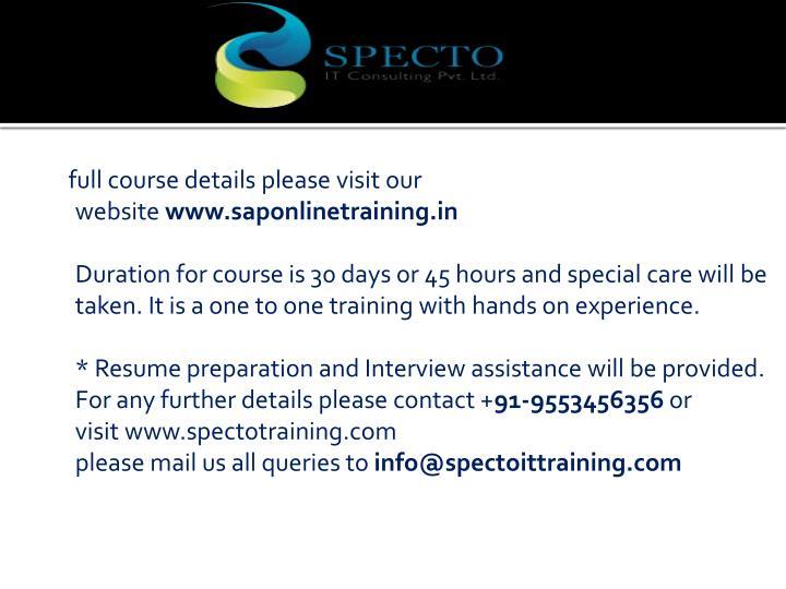 full course details please visit our