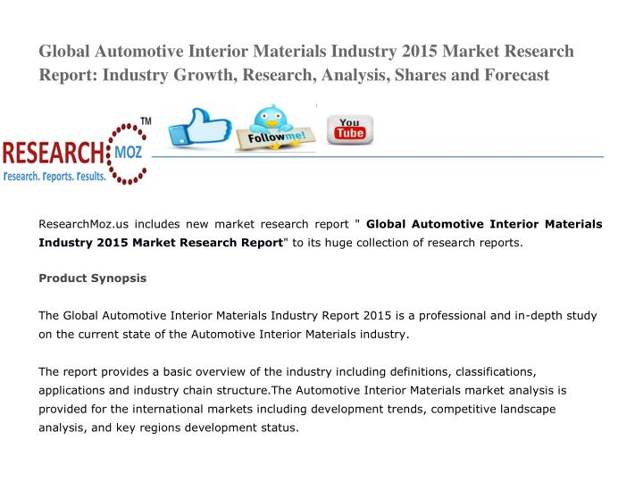 Global Automotive Interior Materials Industry 2015 Market Research