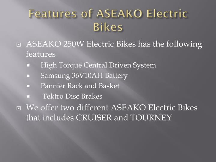 Features of ASEAKO Electric Bikes
