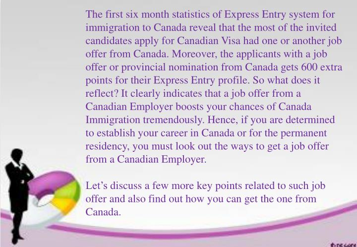 The first six month statistics of Express Entry system for immigration to Canada reveal that the mos...