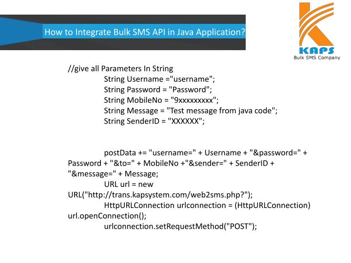 How to Integrate Bulk SMS API in Java Application?