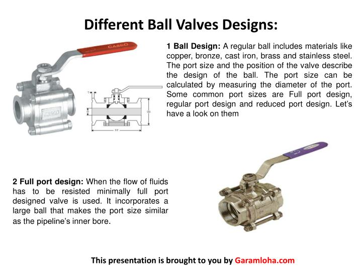 Different ball valves designs