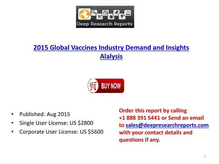 2015 Global Vaccines Industry Demand and Insights