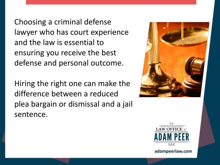 Choosing a criminal defense lawyer who has court experience and the law is essential to ensuring you...