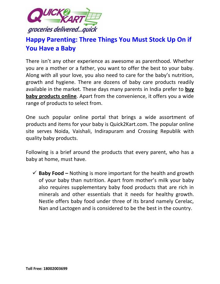 Happy Parenting: Three Things You Must Stock Up On if