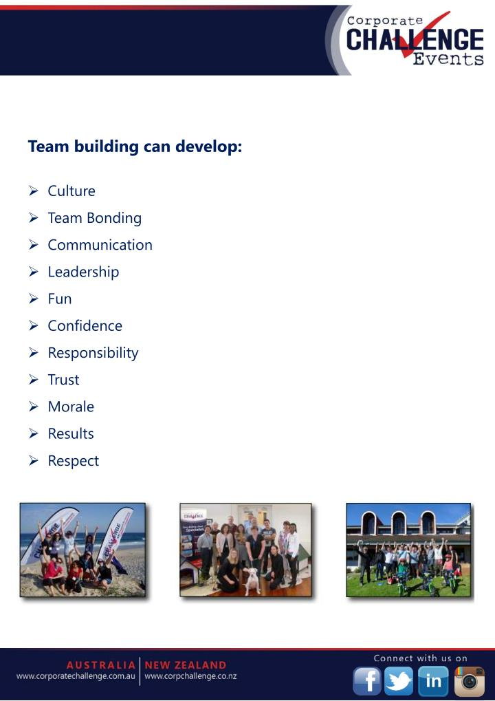Team building can develop: