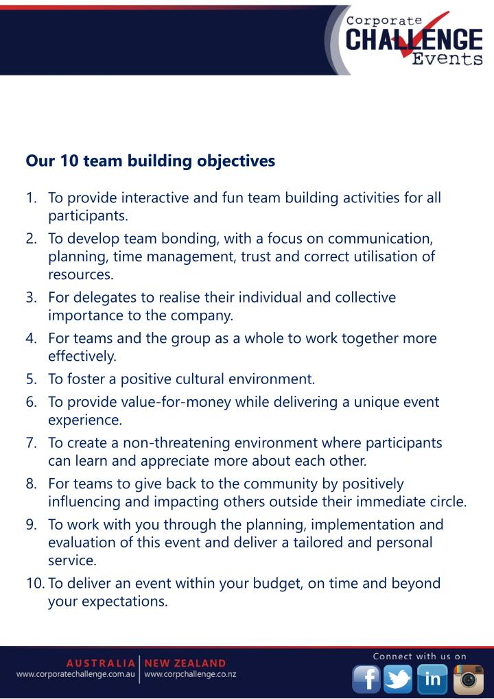 Our 10 team building objectives