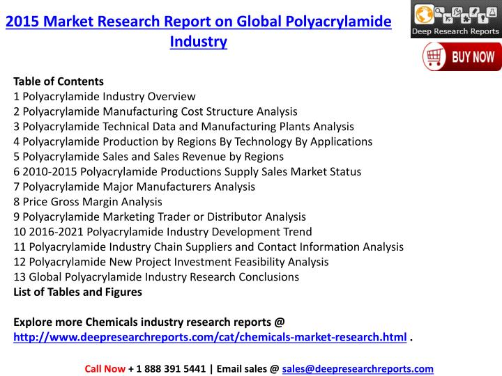 2015 Market Research Report on Global Polyacrylamide Industry