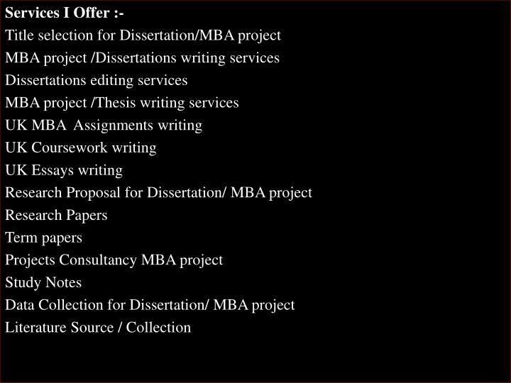 Services I Offer :-