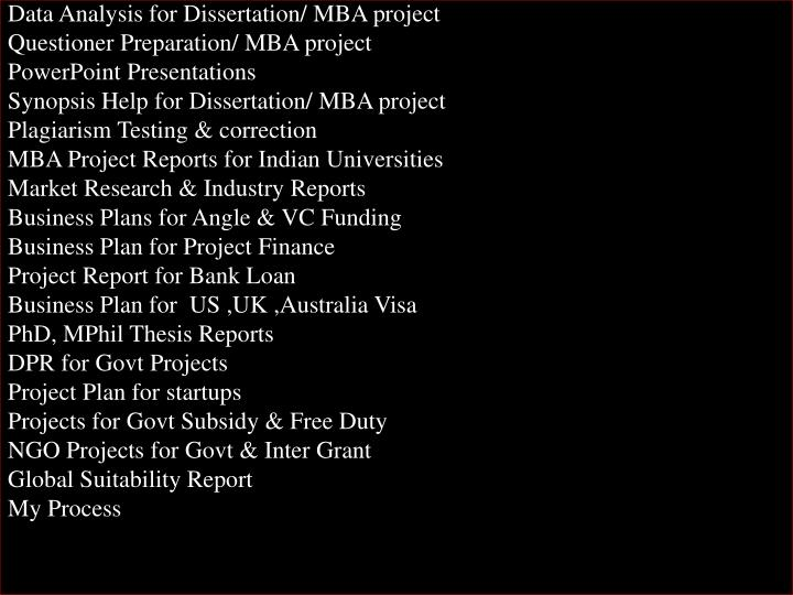 Data Analysis for Dissertation/ MBA project