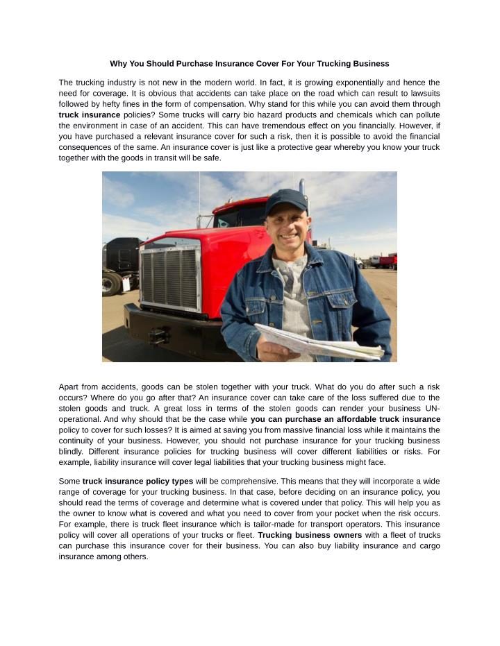 Why You Should Purchase Insurance Cover For Your Trucking Business