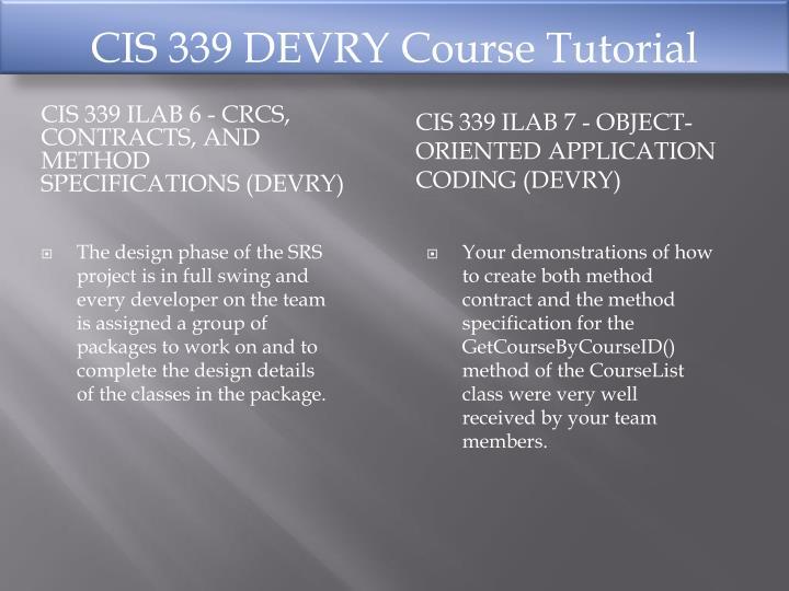 CIS 339 DEVRY Course