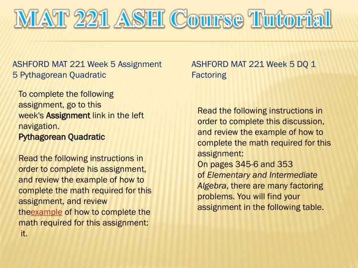 MAT 221 ASH Course Tutorial