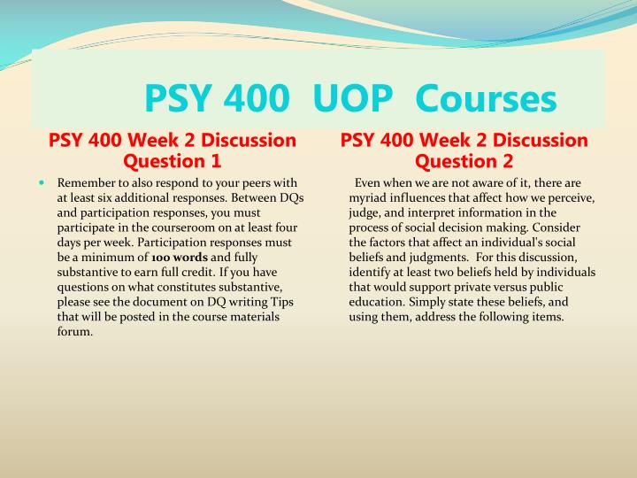 PSY 400  UOP  Courses