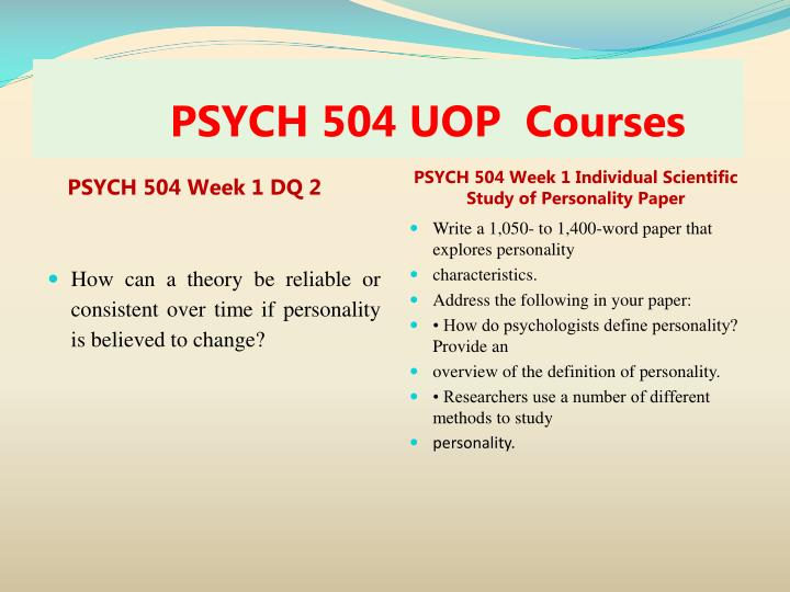 PSYCH 504 UOP  Courses
