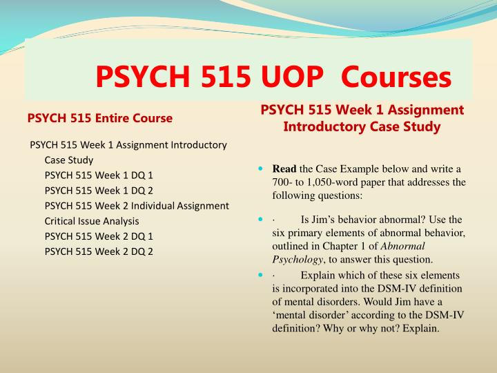 PSYCH 515 UOP  Course