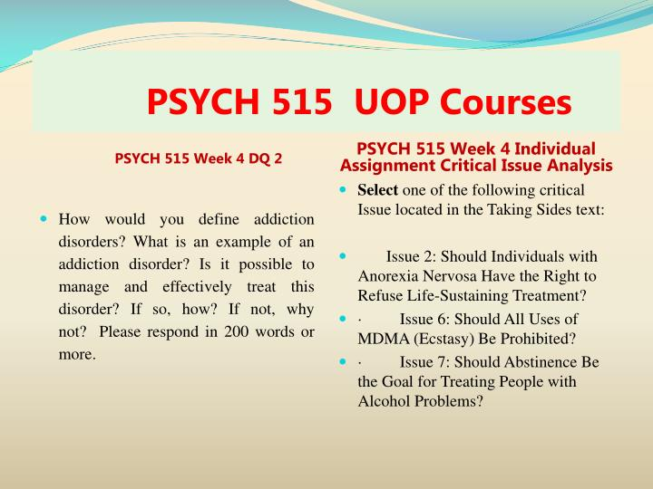 PSYCH 515  UOP Courses
