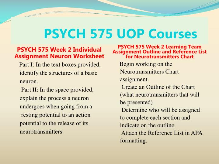 PSYCH 575 UOP Courses