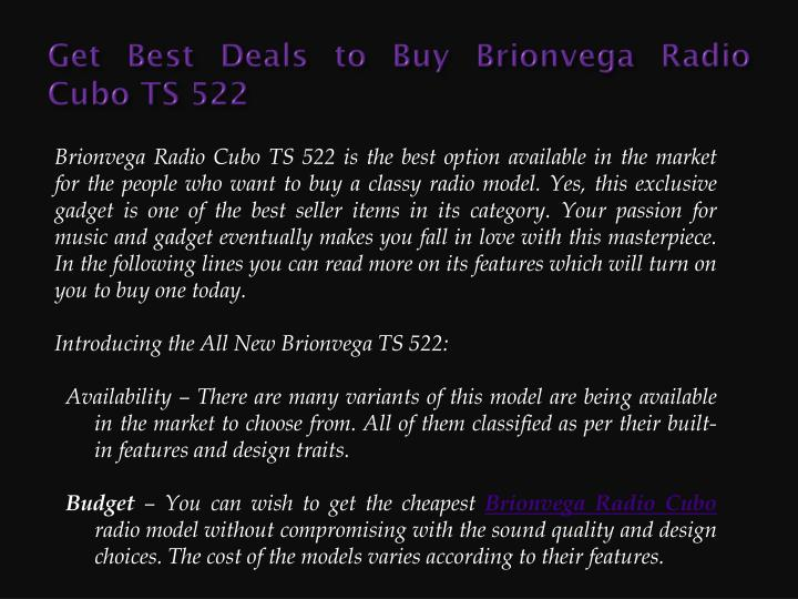 Get best deals to buy brionvega radio cubo ts 522