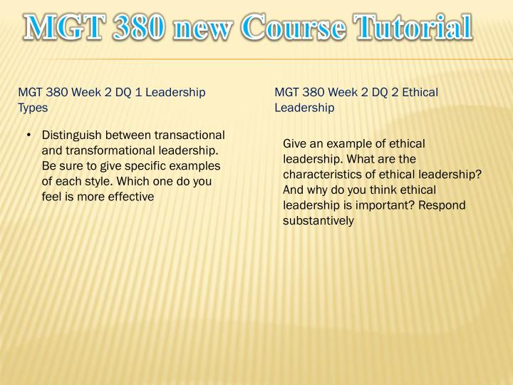 MGT 380 new Course Tutorial
