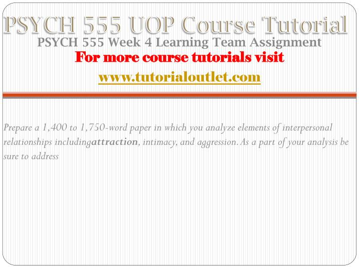 PSYCH 555 UOP Course