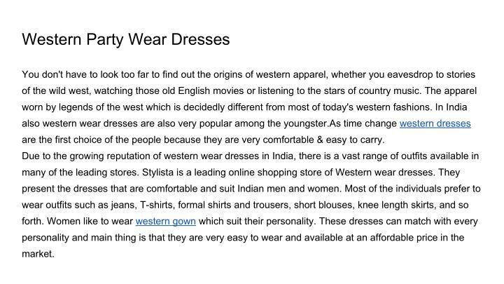 Western Party Wear Dresses