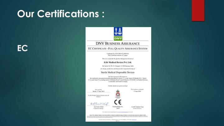 Our Certifications :