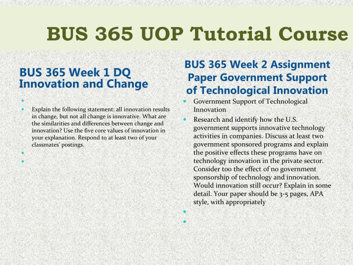 BUS 365 Week 1 DQ Innovation and Change